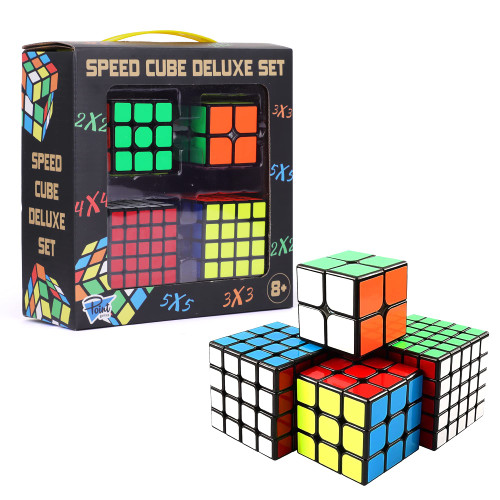 PointGames Speed Cube Set 4 Pack, Beginner to Master, Smooth Turning, 3D Puzzle Cube Game, Development Stimulating Toys, Brain Teaser Puzzles, Bundle Set