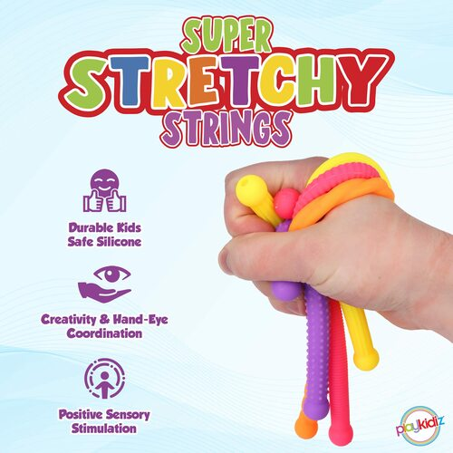 Playkidz Stretchy String Monkey Noodles Fidget Toy, Sensory Toys for Autistic Children, Stress Reliever, 4 Pack, Ages 3+ (Colors Vary)