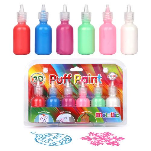 Playkidiz  3-D Art Metallic Puff Paint For Kids, 6 Pack Color Pack Squeeze Paint, Non Toxic Puff Paint Set, Washable Fabric Paint, Classic Colors, Ages 3+.