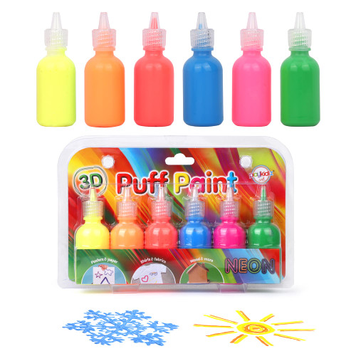 Playkidiz 3-D Art Neon Puff Paint For Kids, 6 Pack Color Pack Squeeze Paint, Non Toxic Puff Paint Set, Washable Fabric Paint, Classic Colors, Ages 3+.