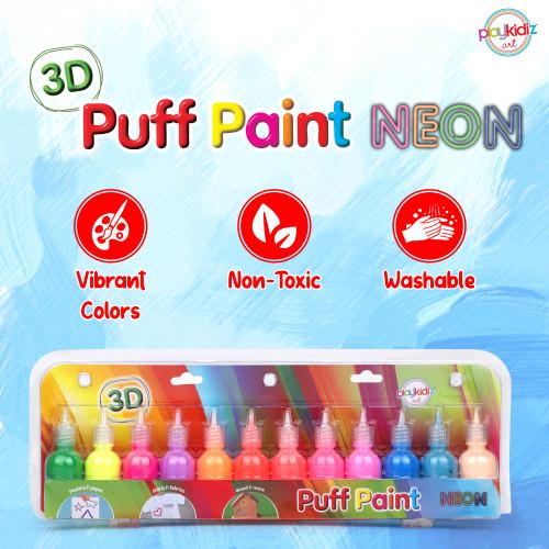 Playkidiz  3-D Art Neon Puff Paint For Kids, 12 Pack Color Pack Squeeze Paint, Non Toxic Puff Paint Set, Washable Fabric Paint, Classic Colors, Ages 3+.
