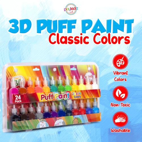 Playkidiz  3-D Art Puff Paint For Kids, 24 Pack Color Pack Squeeze Paint, Non Toxic Puff Paint Set, Washable Fabric Paint, Classic Colors, Ages 3+.