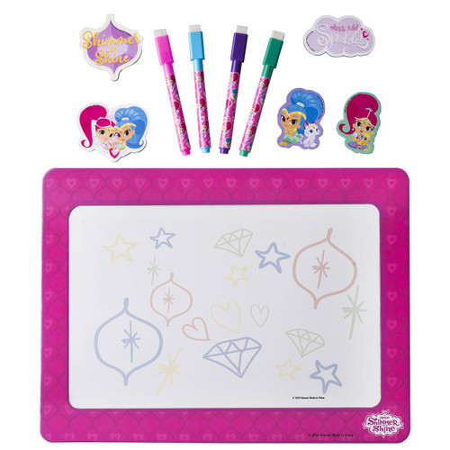 "Shimmer & Shine Magnetic Dry Erase White Board for Kids, Educational with 4 Dry Erase Markers, 5 Magnets, and a 9.5"" x 12.75"" Magnetic Drawing Board, for Boys and Girls Ages 3+"