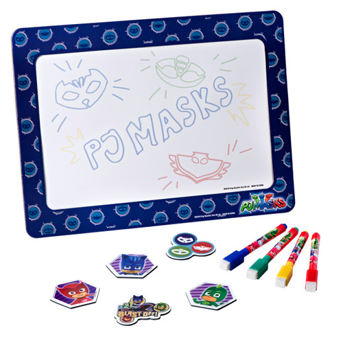 "PJ Masks Magnetic Dry Erase White Board: Mini Magnetic Dry Erase Board for Kids, Educational with 4 Dry Erase Markers, 5 Magnets, and a 9.5"" x 12.75"" Magnetic Drawing Board, for Boys and Girls ages 3+"