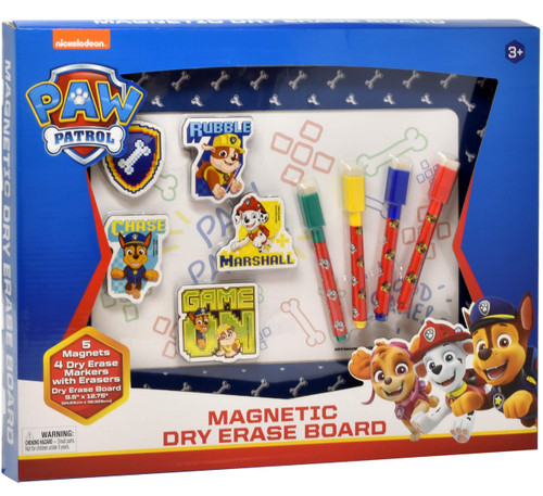 "Paw Patrol Magnetic Dry Erase White Board: Mini Magnetic Dry Erase Board for Kids, Educational with 4 Dry Erase Markers, 5 Magnets, and a 9.5"" x 12.75"" Magnetic Drawing Board, for Boys and Girls Ages 3+"