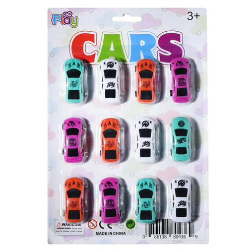 Go Play Toy Cars Set Bulk Pack of [12] Mini Collectible Toy Race Cars for Boys & Girls Assorted Vehicles for Home, School, Toddler Birthday, Kids Party Favors & More Recommended Ages 3+