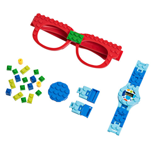 PlayBuild Building Bricks Digital Watch and Eye Glasses Set, Cool Toys for Boys and Girls, Classic Block Wrist Watch and Eye Glasses for Kids of All Ages.