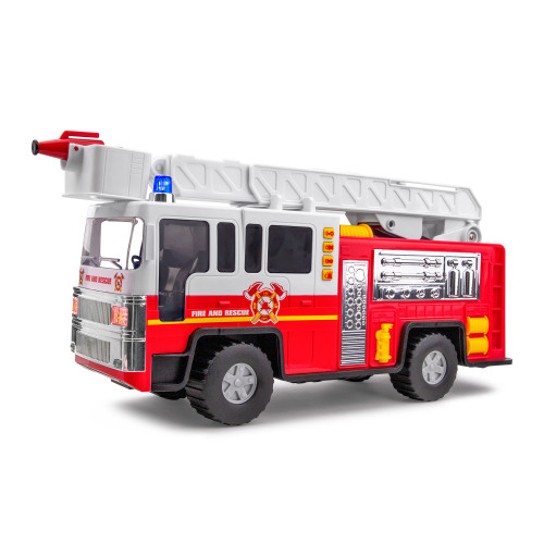 "Playkidiz 15"" Fire Truck Toy for Kids with Lights and Siren Sounds, Classic Red and White Rolling Emergency Vehicle, Interactive Play Movable Ladder, Early Learning Fun, Boys or Girls"