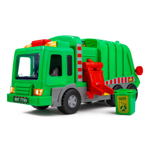 "Playkidiz Kids 15"" Garbage Truck Toy with Lights, Sounds, and Manual Trash Lid, Interactive Early Learning Play for Kids, Indoor and Outdoor Safe, Heavy Duty Plastic"