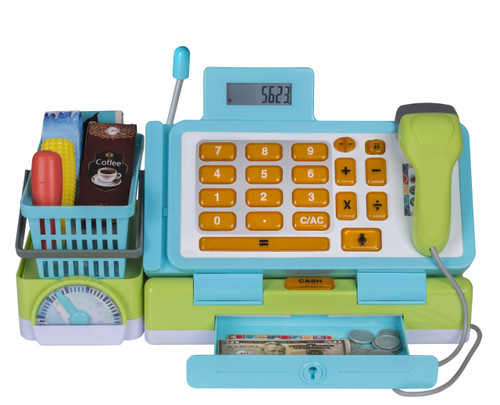 Playkidz Interactive Toy Cash Register for Kids - Sounds & Early Learning Play Includes Play Money Handheld Real Scanner Working Scale & Calculator, Live Microphone Food Boxes Plastic Fruit & Basket, Foldable