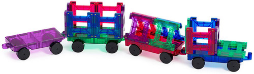 Playmags 20 Piece Train Set with Stronger Magnets, Sturdy, Super Durable with Vivid Clear Color Tiles