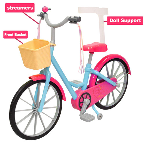 Doll Bicycle - Bicycle with Streamers and Basket for 18 inch Dolls