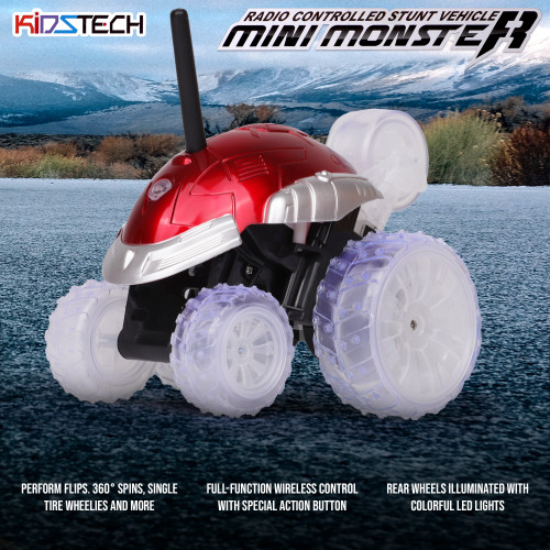KidsTech: Remote Control Monster Stunt Vehicle Mini Monster Racing Car for Kids. With Colorful LED Flashing Lights (Colors May Vary)