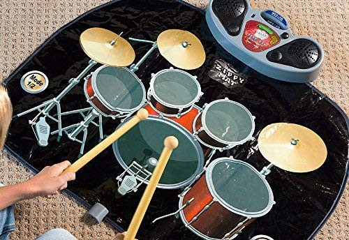 Rock 'N' Roll Electronic Drum Mat - Portable Electronic Drum Pad - Creative Electronic Drum Kit Set Floor Fun Play Mat - Amazing Gifts for Boys & Girls With Drumsticks Headphone and Microphone