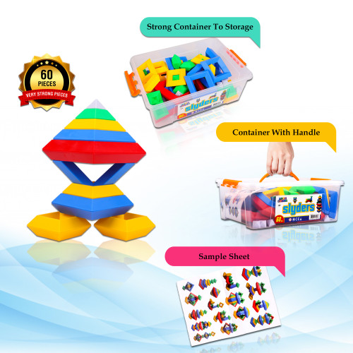 PlayBuild Slyder Set: 60 Pieces 3D Pyramid Building Blocks, Geometric Stacking Toys for Kids Ages 4+ - Creative Early Childhood STEM Educational Toys for Preschool Boys and Girls