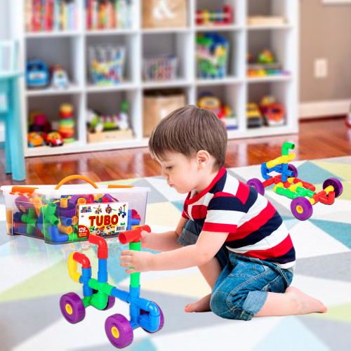 PlayBuild Tubular Spout Construction Building Blocks, Constructor Toy, Fun Educational Building Construction Toys with Wheels and Easy Storage Plastic Container.