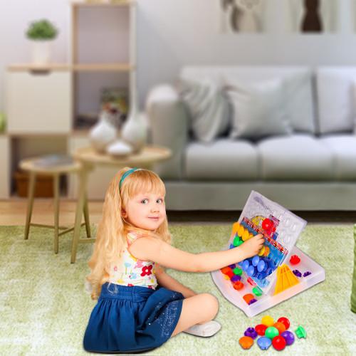 Playkidiz Color Pop Jr. Peg Button Art, Color Matching Mosaic Pegboard, Sensory Educational Toys for Boys & Girls