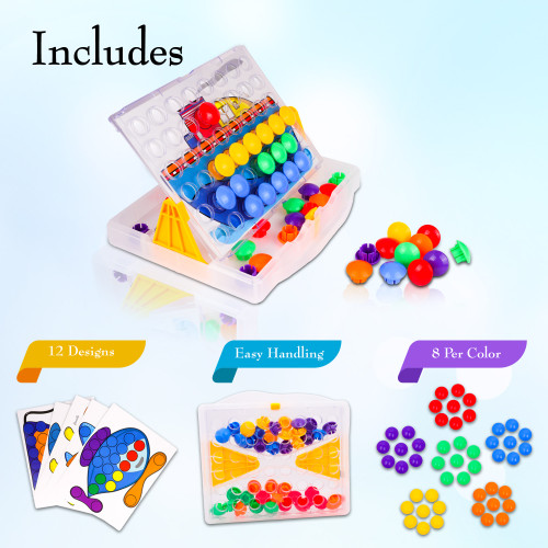 Playkidz Color Pop Jr. Peg Button Art, Color Matching Mosaic Pegboard, Sensory Educational Toys for Boys & Girls
