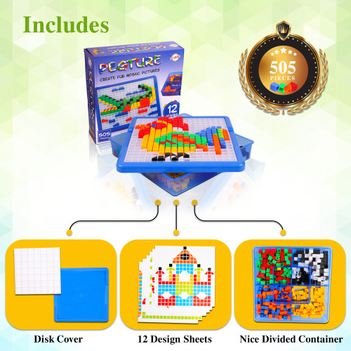 Playkidz: Pegture Set with 505 Larger Pieces + 12 Design Cards. Mosaic Puzzle Toy Set, Creative Skills Development, Educational Learning Toys for Kid. Great Gift for Boys & Girls.