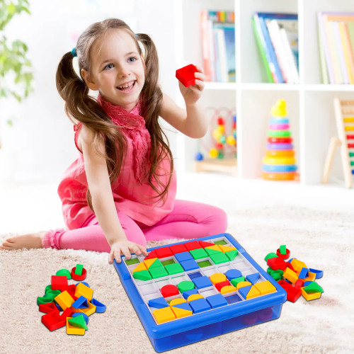 Playkidz: Pegture Jr. Set with 100 Larger Pieces + 12 Design Cards. Mosaic Puzzle Toy Set, Creative Skills Development, Educational Learning Toys for Kid. Great Gift for Boys & Girls.