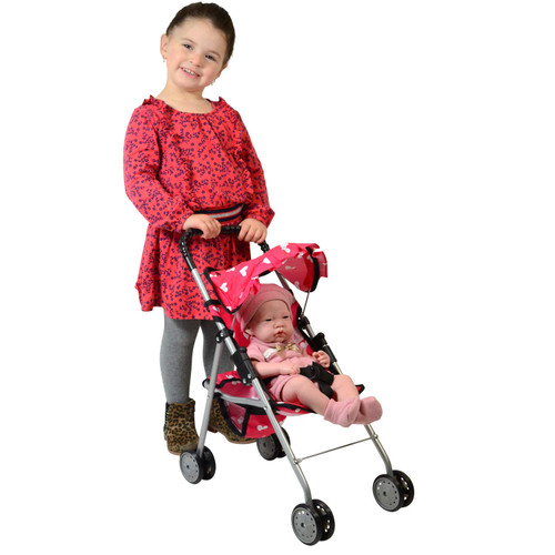 The New York Doll Collection My First Doll Stroller with Basket & Heart Design Foldable Doll Stroller, Colors May Vary