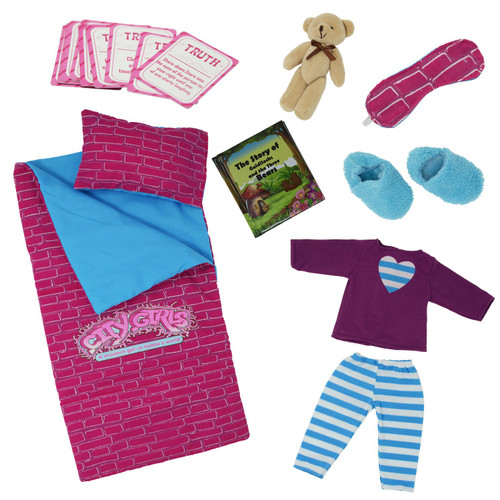 18 Inch doll Travel Case - Includes Doll sleepover set with 9 doll accessories