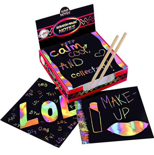 Scratch Off Magic Art Rainbow Mini Notes (100ct) & [2] Stylus, for Kids & Adults 100 Black Paper Sheets Create Colorful Rainbow Cards, Bookmarks, Notes, Pictures & Art Without Ink
