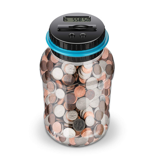 Kidstech Digital Counting Money Jar,Big Piggy Bank,Piggy Bank for Kids,Piggy Bank Digital Counting Coin Bank,Money Saving Jar,Holds Over in 800,Powered by 2AAA Battery (Not Included)