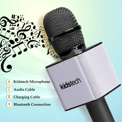 Portable Wireless Karaoke Microphone with Bluetooth Speaker Connects to Phone or USB for Awesome Music Playing by Kidstech - Black