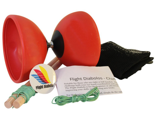 Flight High Performance Diabolo Red Pro Chinese Yoyo with Handsticks, Net Bag and Extra Strings