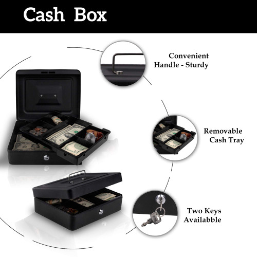 Kidstech Small Key Lock Box Metal Cash Box with Tray - Lockable Storage Box for Money, Jewelry - Great for Traveling businessman Or Small Pop Up Shops for Kids , Includes 2 Keys, Size 8L x 6W x 3H