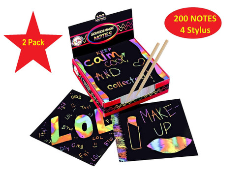 "Scratch It Color Art Notes - Rainbow Mini Notes (200ct) & 4 Stylus, for Kids & Adults 200 Black Paper Sheets Create Colorful Rainbow Cards,size 3.5"" x 3.5"" Bookmarks, Notes, Pictures & Art Without Ink"
