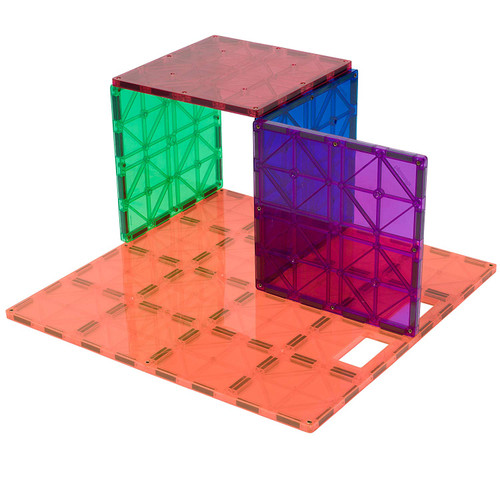 """Playmags: Super Durable Building Stabilizer Set, Great add on to all Magnet Tiles Sets, Works with all Leading Brands 1 - 12""""x12"""" & 4 - 6""""x6"""" (Colors May Vary)"""