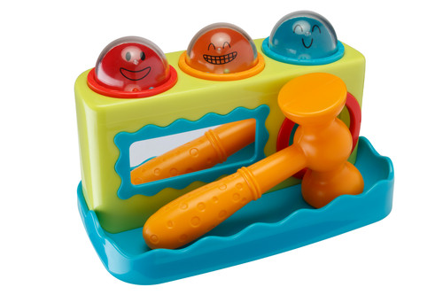 Playkidz Super Durable Pound a Ball - 3 Balls That Roll Down With a Toy Hammer Punch for Kids, Babies and Toddlers