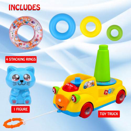 Playkidiz Stackable Rings and Pull Along Toy Bus for Toddlers - Sensory and Educational Toy for Girls and Boys Ages 3+, Great Birthday Gift