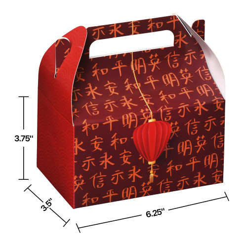 Chinese paper treat box - 6.25 x 3.75 x 3.5(10 Pack)