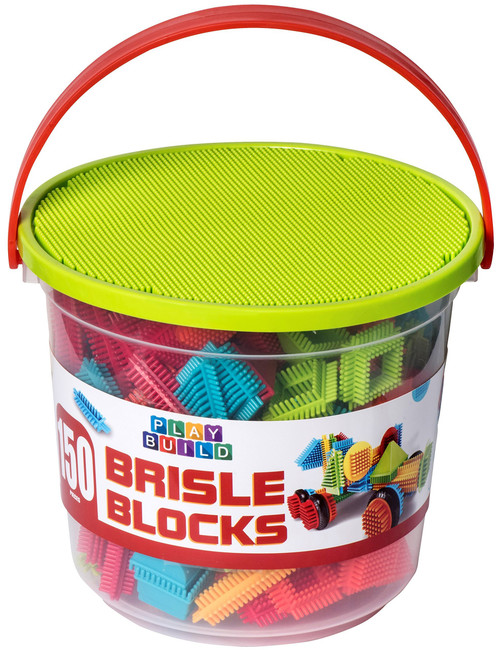 Playbuild Brisle Blocks Building Set - Educational Construction Interlocking Stacking Brisle Builder for Toddlers with Illustrated Guide Book (150-Pieces in Storage Bucket)