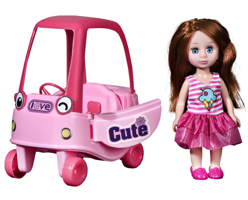 playkidiz Mini Doll Coupe Playset: Pretend Play Mini Doll with Super Durable Coupe for Children's Doll house or just Fun Play.