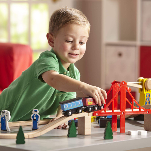 Deluxe Wooden Railway Set by Melissa & Doug