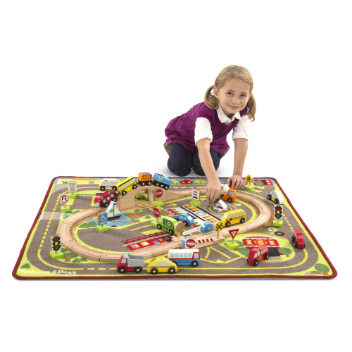 Melissa & Doug Deluxe Multi-Vehicle Activity Rug, Great Gift for Girls and Boys - Best for 3, 4, 5 Year Olds and Up