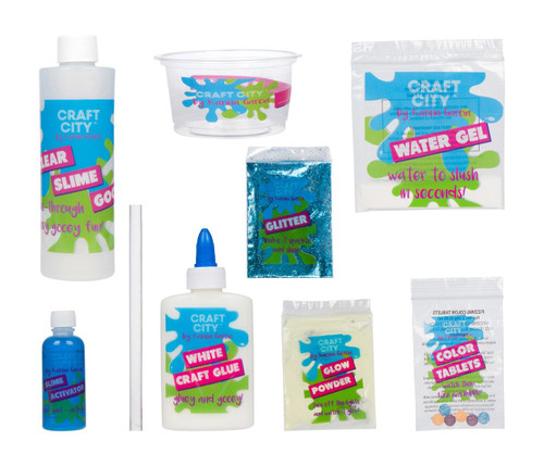 Craft City Karina Garcia DIY Slime Kit | Make Your Own Crunchy, Glow-in-the-Dark or Sparkly Slime | 3 Colors