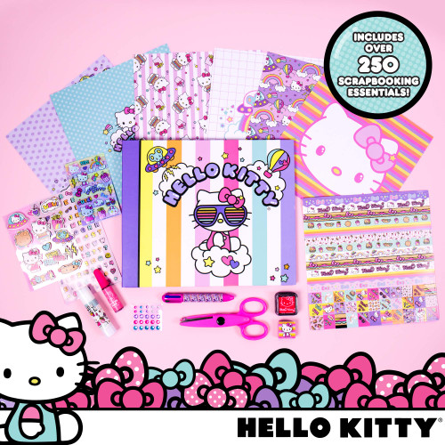 Hello Kitty All-in-One DIY Scrapbook by Horizon Group USA,Includes Over 400 Scrapbooking Essentials.Scrapbook,Sheets,Envelopes,Decorative Accessories,Stickers,Scissors,Stamps,Glue & Sequins Included