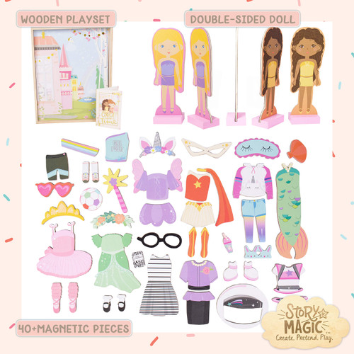 Story Magic Wooden Dress-Up Doll by Horizon Group USA, Dress Up Magnetic Wood Double Sided Doll, Over 40 Outfit and Accessory Pieces, Creative Pretend Play, Perfect for Ages 4+