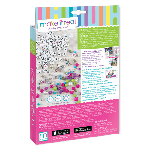 Make It Real - Block n Rock Bracelets. DIY Alphabet Beads and Charms Bracelet Making Kit for Girls. Arts and Crafts Kit to Design and Create Unique Tween Bracelets with Letters, Beads and Charms