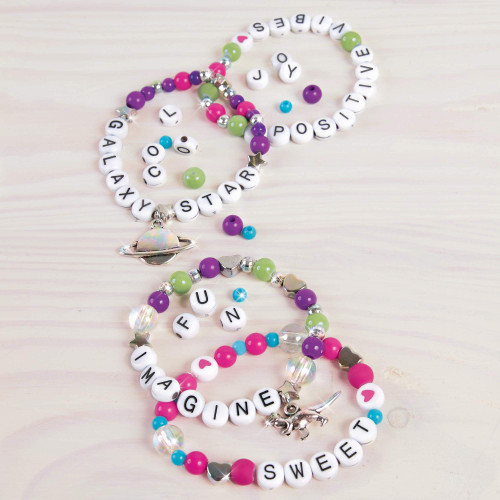 Make It Real - Block n' Rock Bracelets. DIY Alphabet Beads and Charms Bracelet Making Kit for Girls. Arts and Crafts Kit to Design and Create Unique Tween Bracelets with Letters, Beads and Charms
