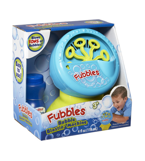 Little Kids Fubbles Bubble Blastin Bigger Bubbles Kids Automatic Party Machine and Includes 4oz of Bubble Solution Toy, Blue