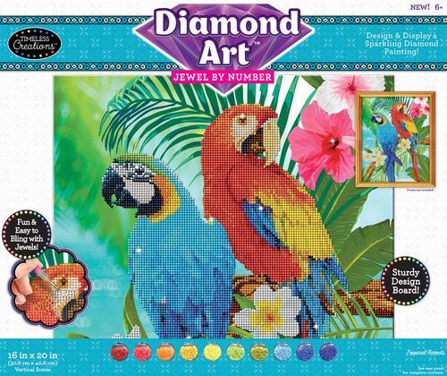 Timeless Creations Diamond Art Jewel by # Tropical Parrots 16 X 20