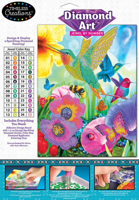 Cra-Z-Art Timeless Creations Diamond Art Jewel by # Hummingbirds 9 X 12, Multiple