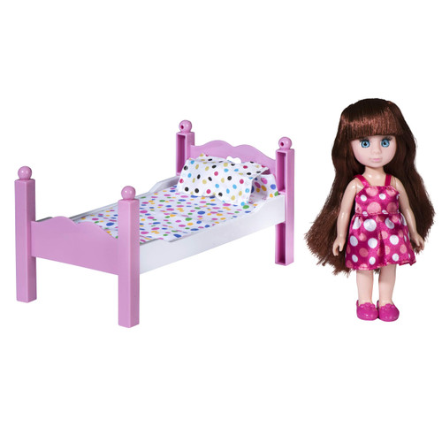 playkidiz Mini Doll Bedroom Playset: Pretend Play Mini Doll with Super Durable Bed, Mirror, and Chair for Children's Doll house or just Fun Play.