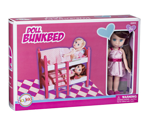Playkidz Mini Doll Double Bed Playset: Pretend Play Mini Doll with Super Durable Double Bed for Children's Doll house or just Fun Play.